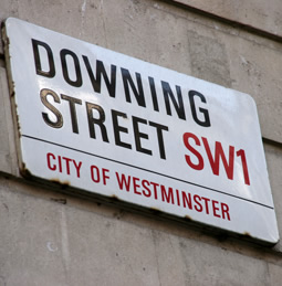 Street sign for 10 Downing Street