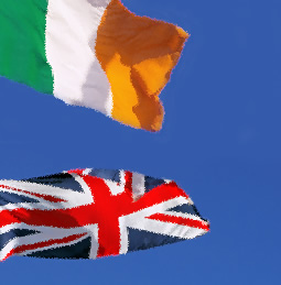 Union Jack and Irish flags
