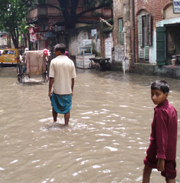 flooded street in India