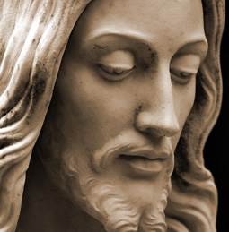 stone sculpture of Jesus\' face