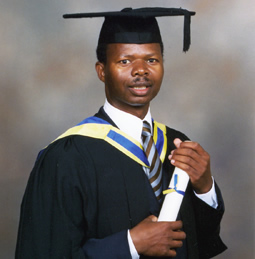 a student in graduation gown